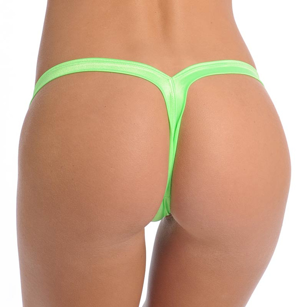 Neon Green Wide Thong - Back