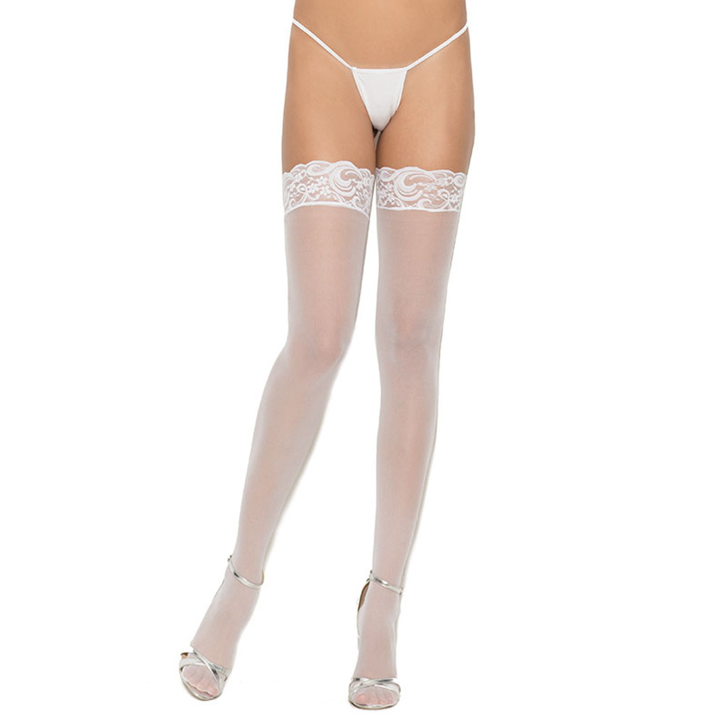 White Cirilla's Sheer Lace Top Thigh High - Front