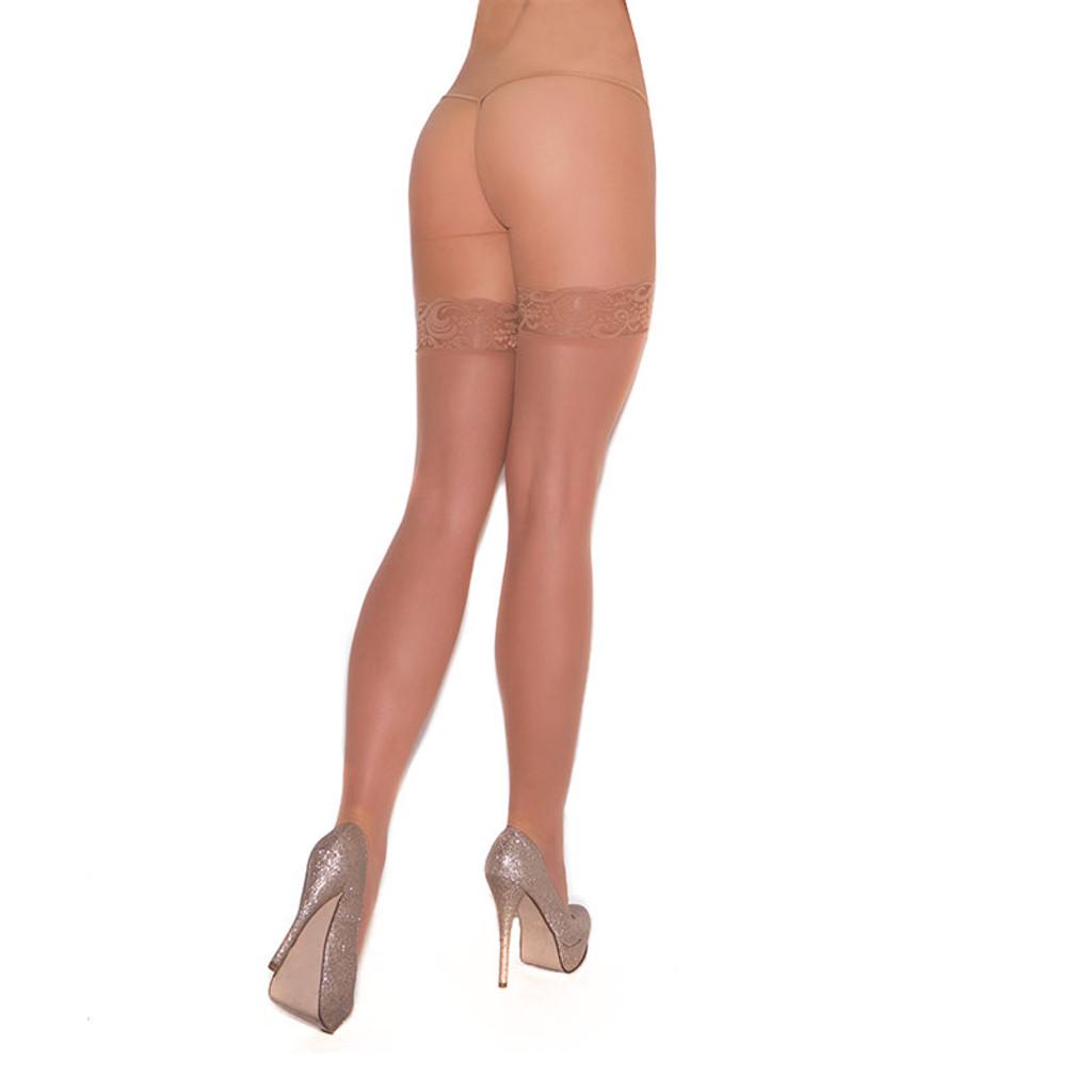 Nude Cirilla's Sheer Lace Top Thigh High - Back