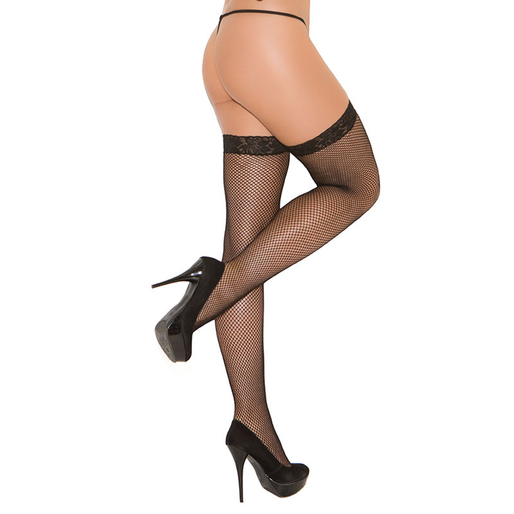 Black Cirilla's Fishnet Thigh High with Lace Top - Back
