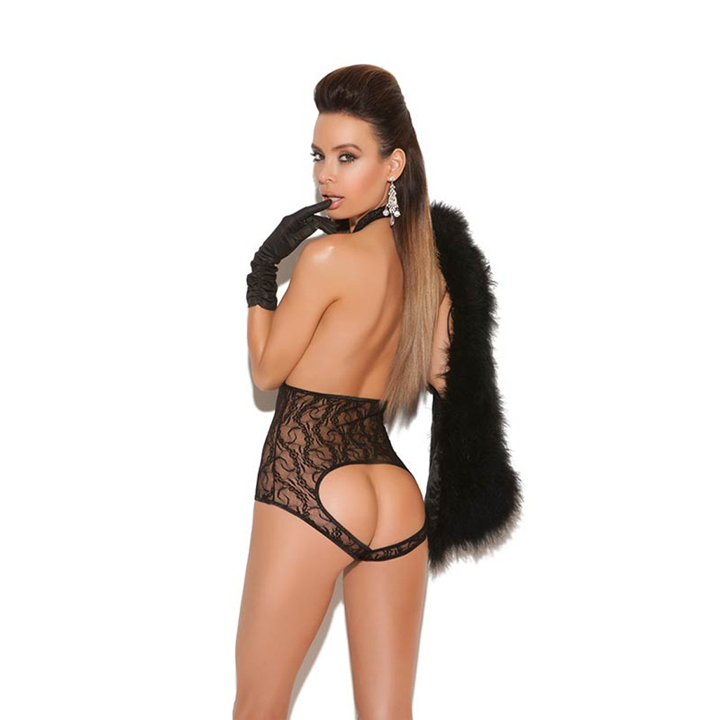 Lace Cupless Open Back Teddy - Back