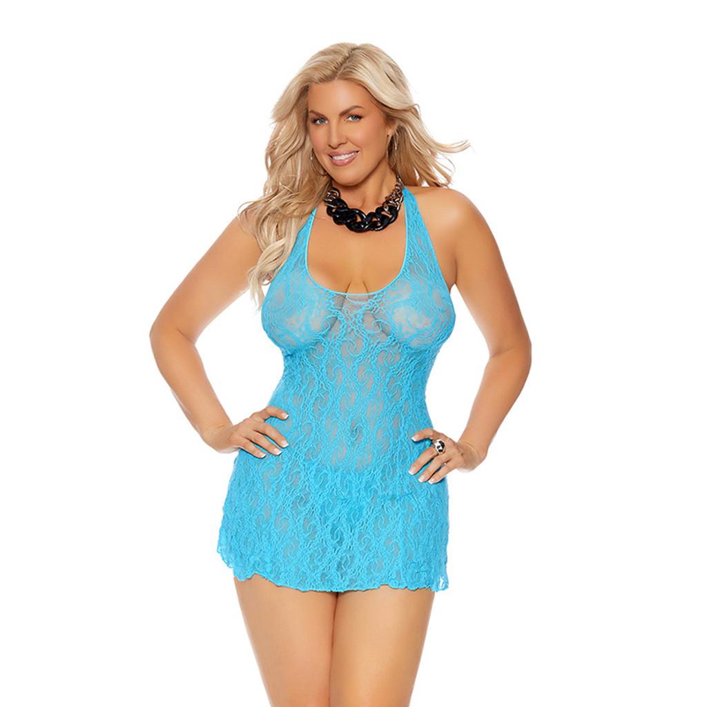 Turquoise Plus Size Lace Halter Mini Dress - Front