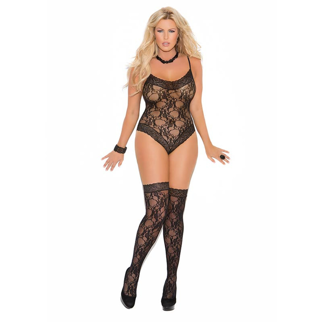 Black Plus Size Lace Teddy and Thigh Highs - Front