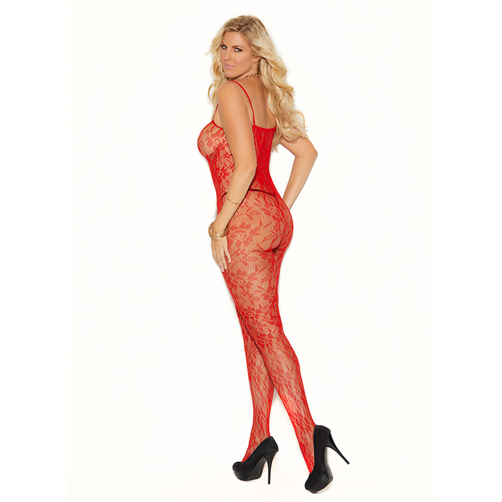 Plus Size Spaghetti Strap and Open Crotch Lace Bodystocking - Front