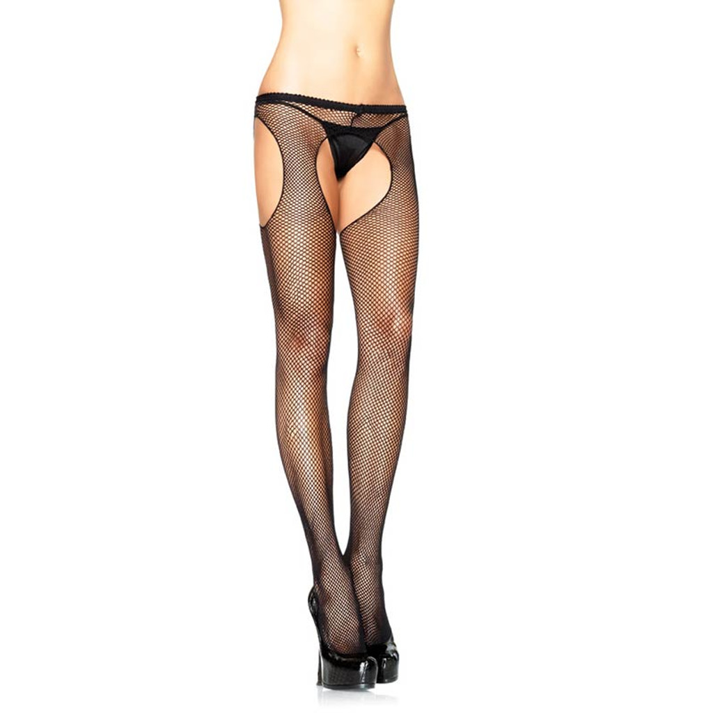 Plus Size Fishnet Suspender Hose