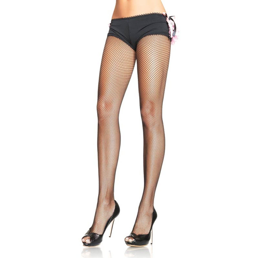 Black Plus Size Nylon Fishnet Pantyhose - Front