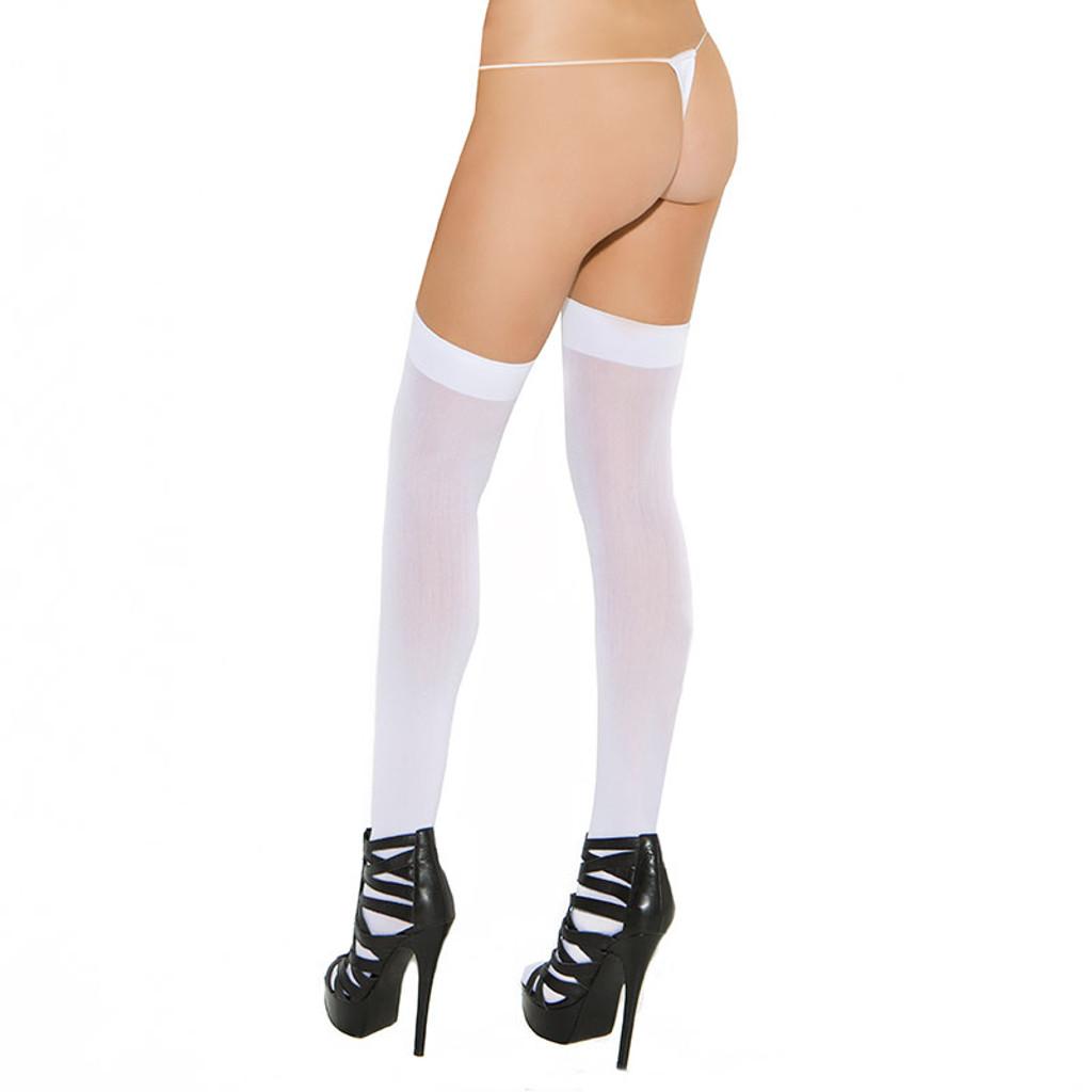 White Cirilla's Plus Size Opaque Nylon Thigh Highs - Back
