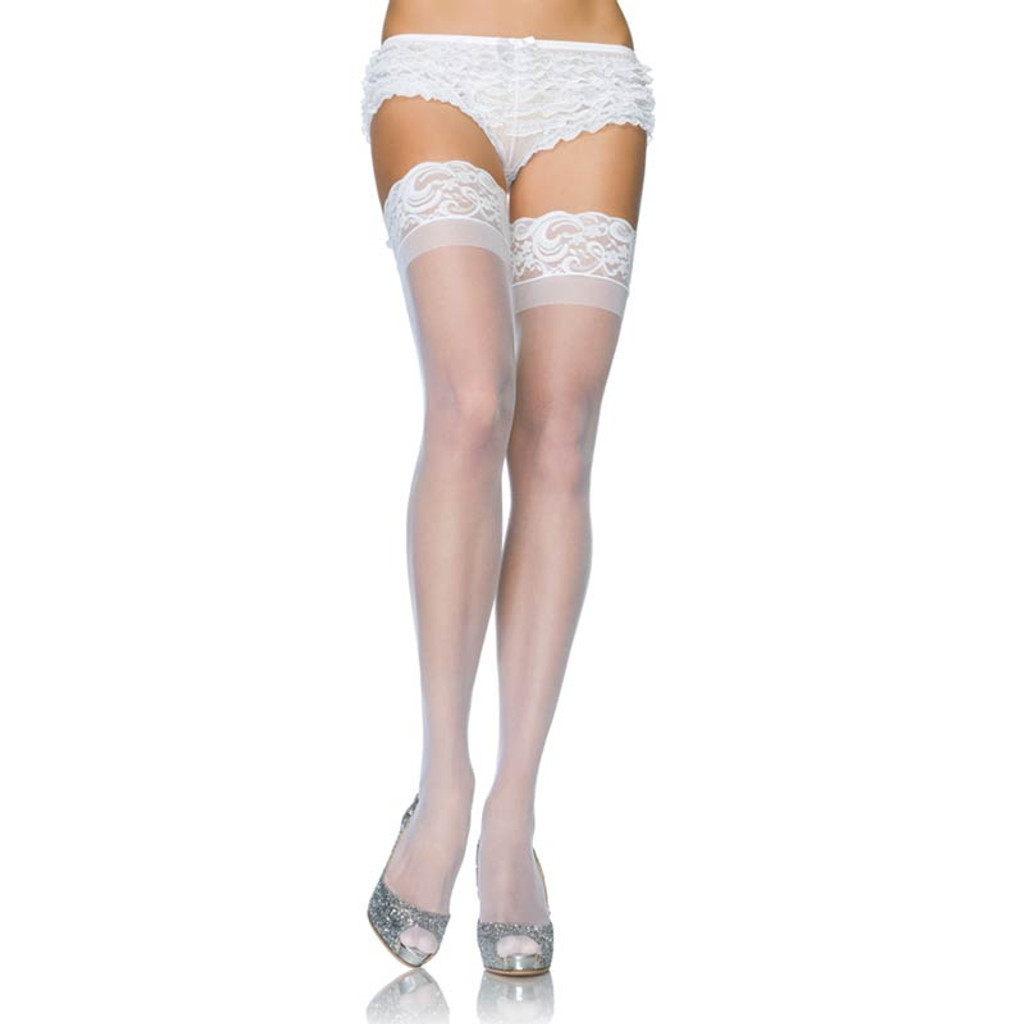 Plus Size Stay Up Sheer Thigh Highs with Silicone Top