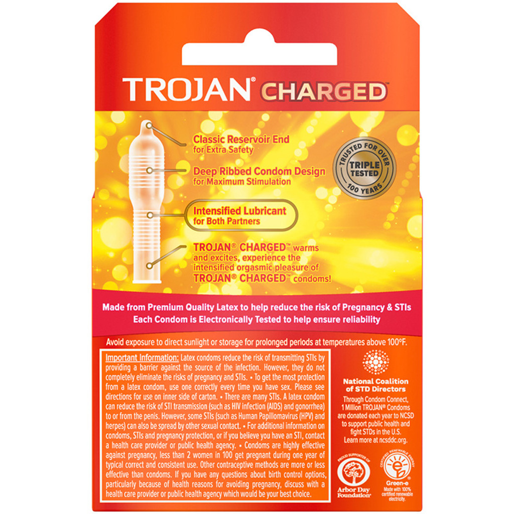 Trojan Charged Orgasmic Pleasure Lubricated Latex Condoms 3pk - Back