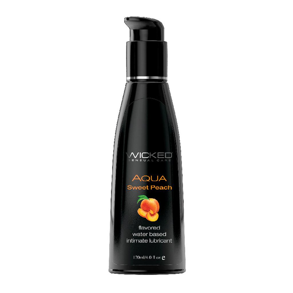 Wicked Aqua Flavored Lubricant - Sweet Peach 4 oz.