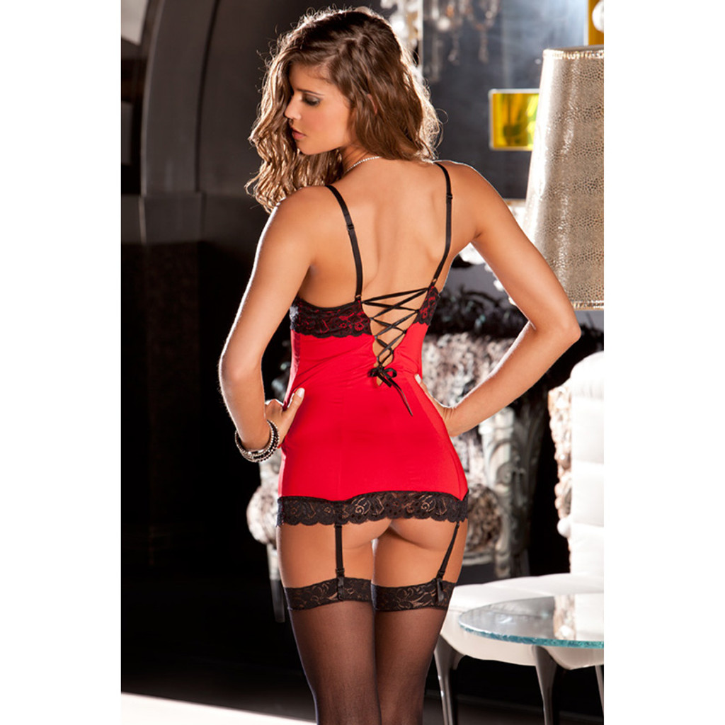 Red Hollywood Chemise with Attached Garters and G-String - Back