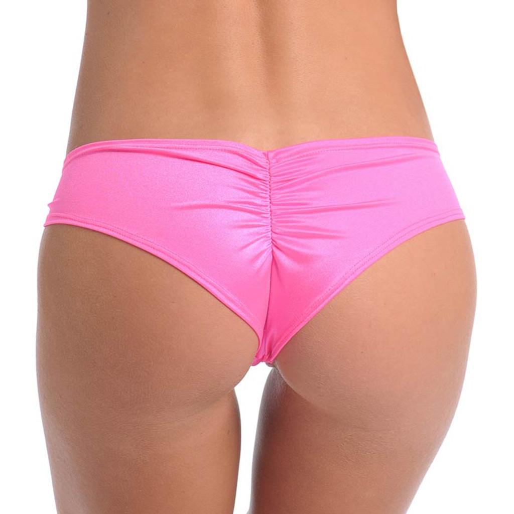Hot Pink Scrunch Back Short - Back