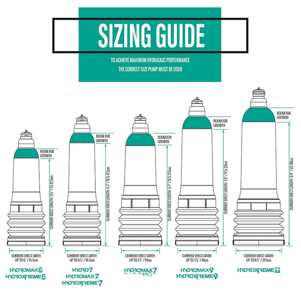 Blue Bathmate Hydro7 Penis Enlargement Hydropump - Sizing Guide