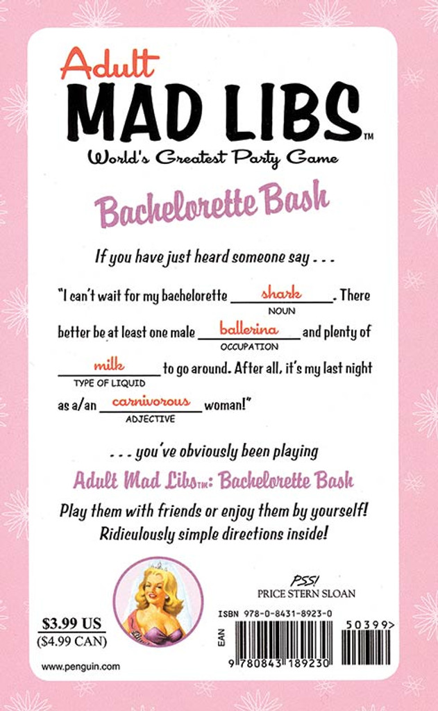 Bachelorette Bash Mad Libs - Back