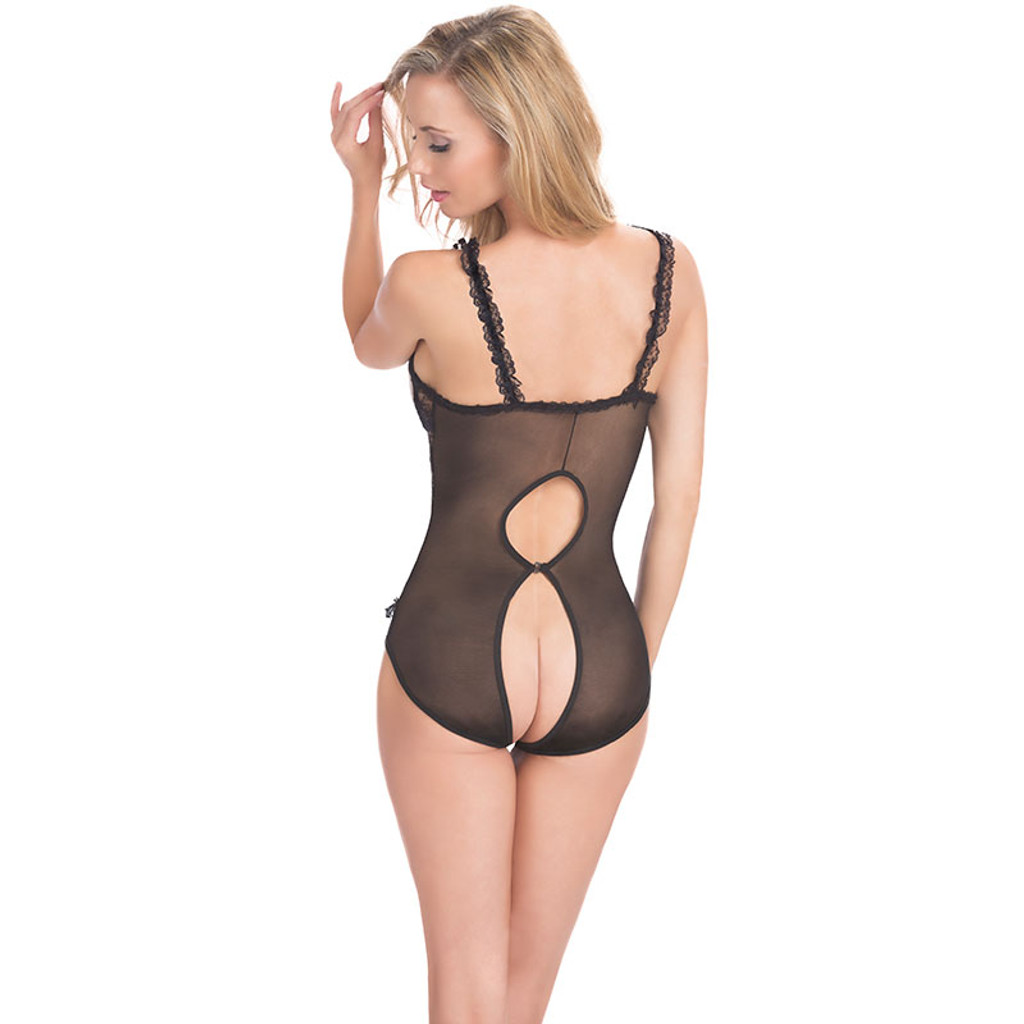 Black Lace Open Cup Crotchless Teddy - Back