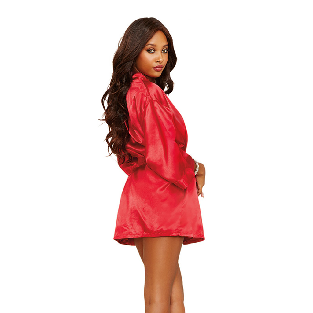 Red Dreamgirl Women's Charmeuse Short Length Kimono Robe, Sexy Chemise and Padded Hanger Set - Back