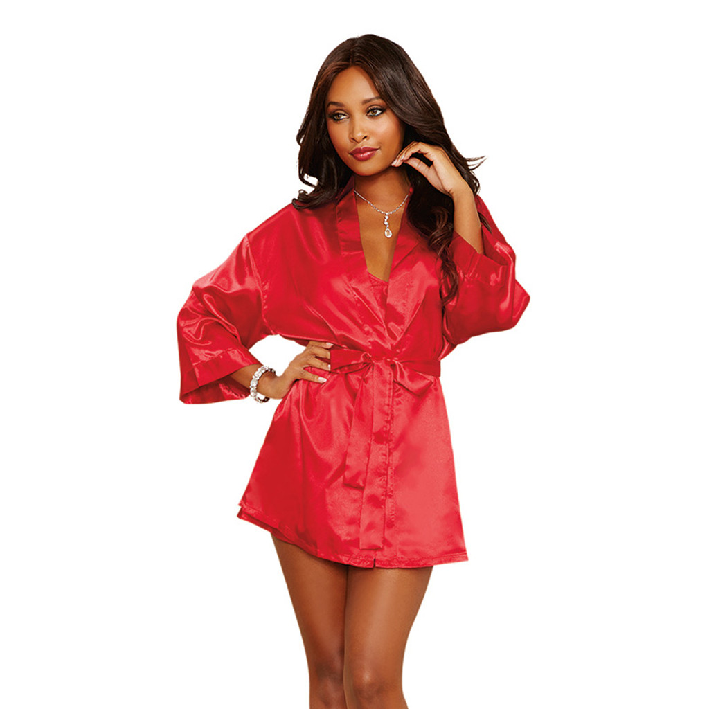 Red Dreamgirl Women's Charmeuse Short Length Kimono Robe, Sexy Chemise and Padded Hanger Set - Front