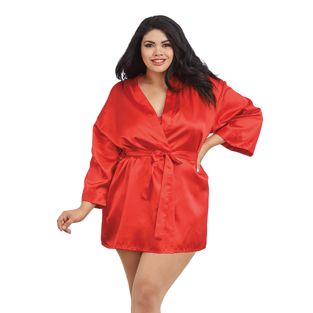 Red Dreamgirl Plus Size Charmeuse Short Kimono Robe and Chemise