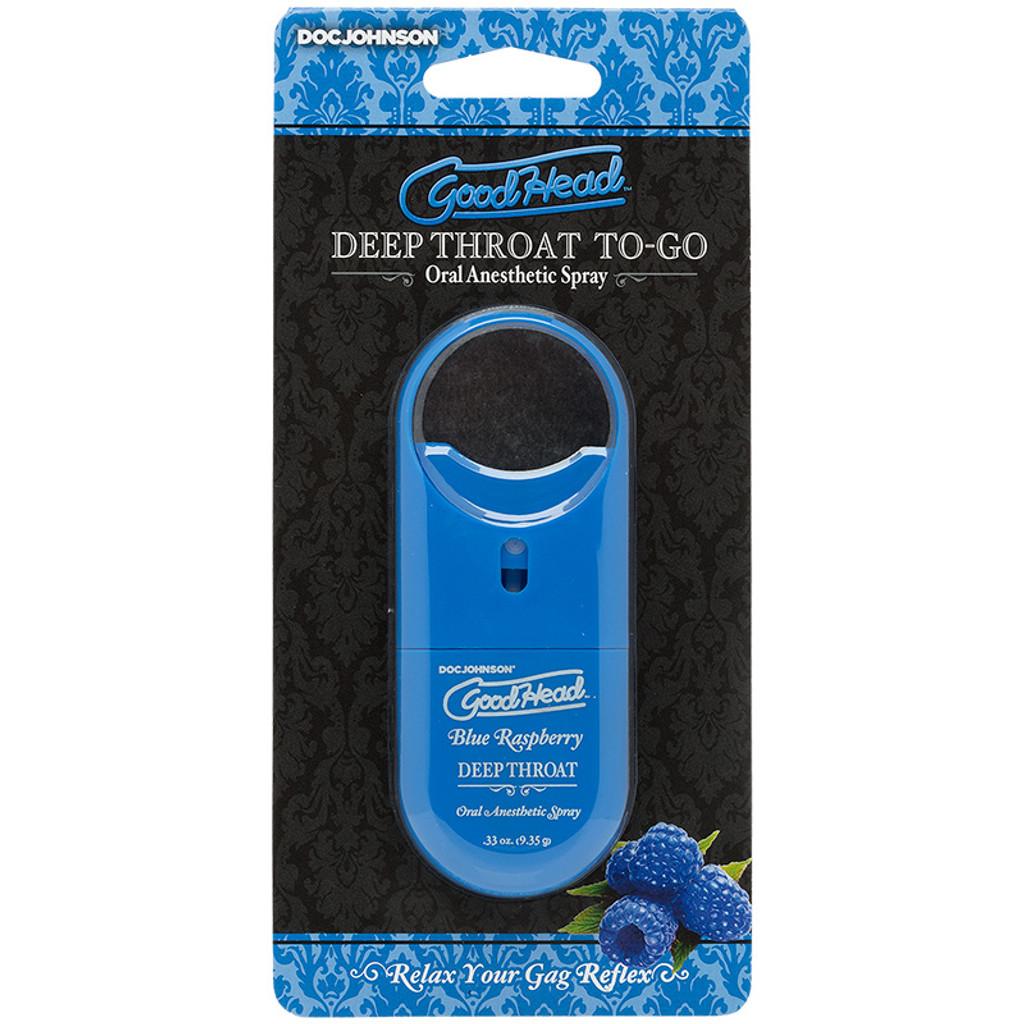 Blue Raspberry Doc Johnson GoodHead Deep Throat To-Go Oral Anesthetic Spray - Package