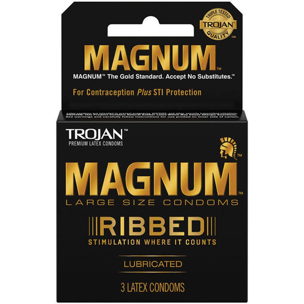 Trojan Magnum Ribbed Condoms - 3pk
