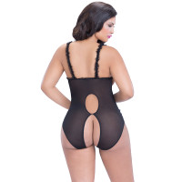 Black Plus Size Open Cup Crotchless Teddy - Back