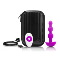 Fuchsia b-Vibe Remote Control Triplet Anal Beads - Contents