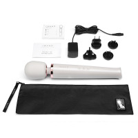 Pearl White Le Wand Rechargeable 10-Speed Wand Massager - Contents