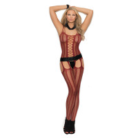 Burgundy Elegant Moments Vertical Striped Fishnet Suspender Bodystocking - Front
