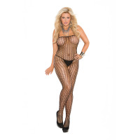 Elegant Moments Plus Size Seamless Crochet Bodystocking with Open Crotch - Front