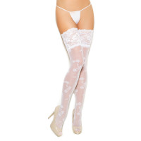 Lace Thigh Hi with Lace Top and Floral Design - Front