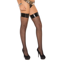 Black Fishnet Thigh Hi with Vinyl Top - Front