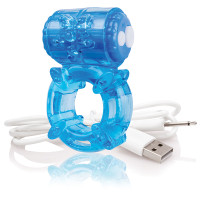 Blue Screaming O Charged BigO Rechargeable Vibrating Cock Ring - Side
