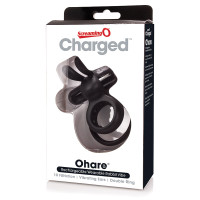 Black Charged Ohare Rechargeable Vibrating Ring - Package Front