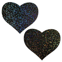 Sweety: Black Glitter Heart Nipple Pasties by Pastease