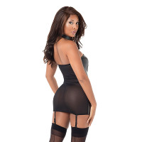 Black Dreamgirl Lingerie Faux Leather Heart Cut Out Garter Chemise - Back