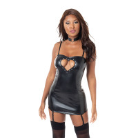 Black Dreamgirl Lingerie Faux Leather Heart Cut Out Garter Chemise - Straps