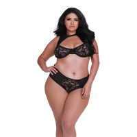 Black Dreamgirl Plus Size Women's Stretch Lace High Neck Bra and Panty Set - Front