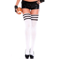 White/ Black Music Legs Athletic Striped Thigh Highs