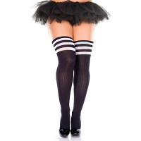 Black/ White Music Legs Plus Size Athletic Striped Thigh Highs