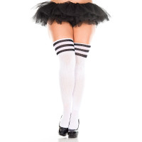 White/ Black Music Legs Plus Size Athletic Striped Thigh Highs