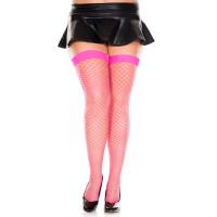 Hot Pink Music Legs Plus Size Diamond Net Thigh Highs