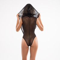 Adore by Allure Lingerie Dare to Imagine Sequins Bodysuit with Hoodie - Back