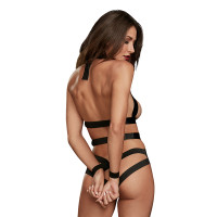 Dreamgirl Women's Strappy Faux Leather Teddy with Silver Rings and Attached Wrist Restraints Fetish Play Set - Back