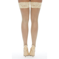 Nude Fishnet Stay-up Thigh Highs with Rhinestones - Back