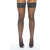 Black Fishnet Stay-up Thigh Highs with Rhinestones - Front