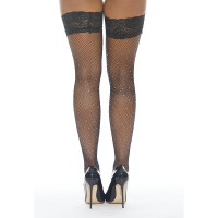 Black Fishnet Stay-up Thigh Highs with Rhinestones - Back