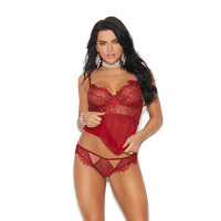 Elegant Moments Mesh Underwire Babydoll with Eyelash Lace Bodice - Panty