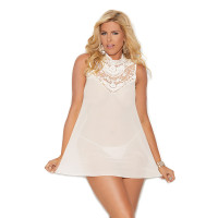Elegant Moments Plus Size Mesh Mock Neck Babydoll with Embroidered Detail - Front
