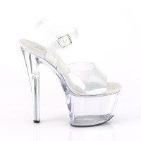 Holographic Platform Ankle Strap Sandal  - Right