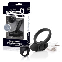 Black My Secret Screaming O® Bullet and Ring for Him